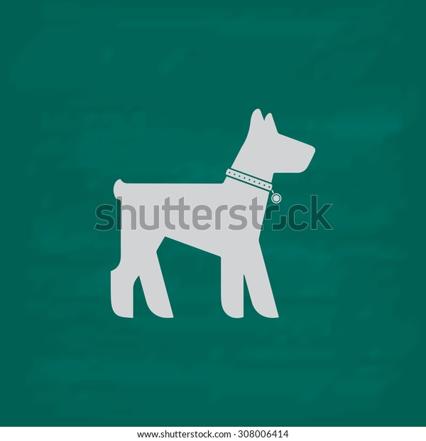 Dog. Icon. Imitation draw with white chalk on green chalkboard. Flat Pictogram and School board background. Vector illustration symbol