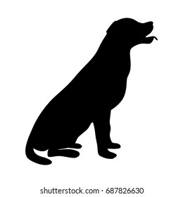 Dog icon. Labrador silhouette sitting. Vector illustration