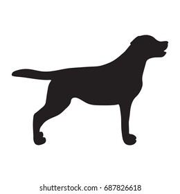 Dog icon. Labrador silhouette standing. Vector illustration
