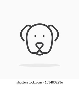 Dog icon in line style. For your design, logo. Vector illustration. Editable Stroke.