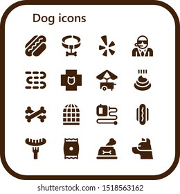 dog icon set. 16 filled dog icons.  Simple modern icons about  - Hot dog, Collar, Yelp, Bodyguard, Sausages, Veterinary, Food cart, Poo, Bones, Bird cage, Extending leads, Sausage