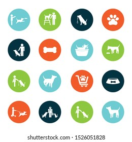 Dog icon set design, Mascot pet animal nature cute puppy and canine theme Vector illustration
