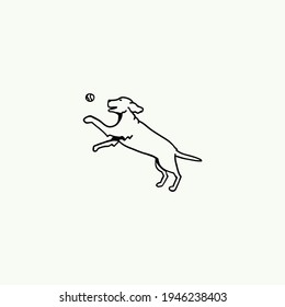 Dog icon, dog sign, dog icon in line art, Vector graphics.