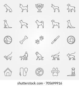 Dog icons set. Vector concept dogs symbols or logo elements in thin line style