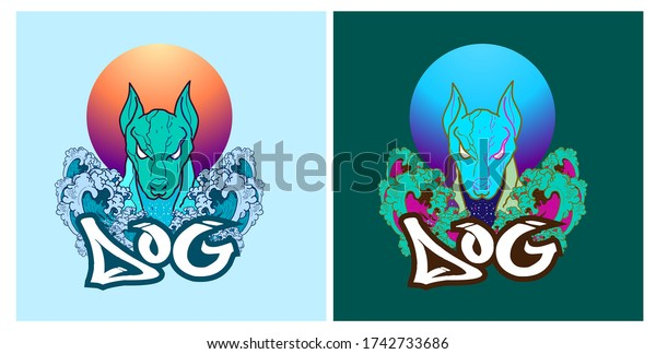 Dog illustration design for sukajan is mean japan traditional cloth or t-shirt with digital hand drawn