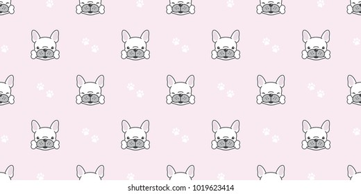 Dog isolated french bulldog seamless pattern bone paw vector breed wallpaper background pink