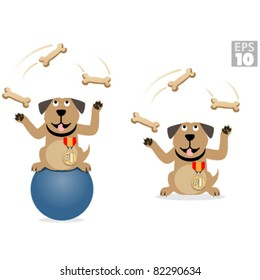 Dog juggling bones, doing tricks on a ball