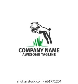 dog jump vector animal logo