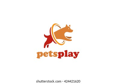 Dog jumping Logo design vector template. Home pets store veterinary clinic Logotype concept icon