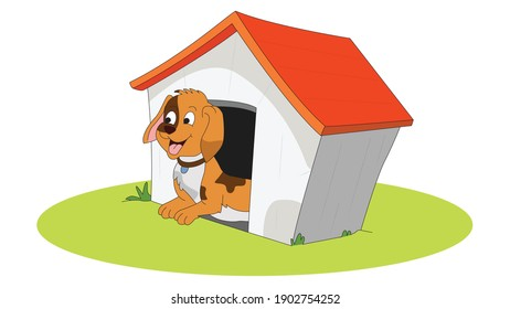 Dog in Kennel illustration white background