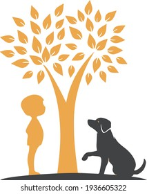 Dog and kids under tree, Dog Shirts, T-Shirts and Tank Tops for Dogs and Puppies
