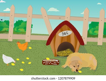 The dog lies in front of the dog house. Hens and their chickens cross over the yard