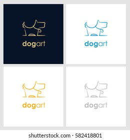 dog line company logo. pet shop logo with minimalist concept