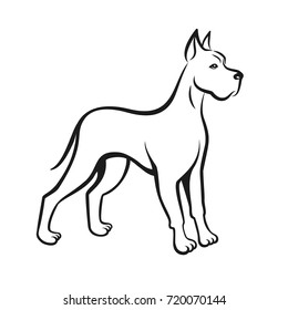Dog line drawing Great Dane. Can be used as pet shop logo or emblem of chinese new year 2018