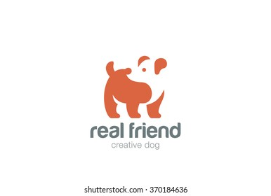 Dog Logo abstract design vector template Negative space style. Home pets veterinary Logotype concept icon.