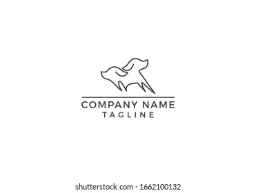 Dog logo abstract icon illustration graphic design in vector editable file.