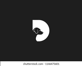 DOG LOGO WITH ALPHABET D WITH NEGATIVE SPACE EFFECT FOR ILLUSTRATION USE