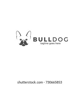 Dog. Logo. Cute bulldog on white background. Vector illustration