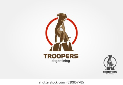Dog logo design, the main concept is sitting dog on the rock, it's good for training dog, school dog or others dog business or dog lover community.