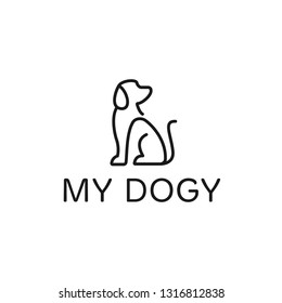 Dog logo design template. Graphic sitting puppy logotype, sign and symbol. Pet silhouette label illustration isolated on background. Modern animal badge for veterinary clinic, pet food - Vector