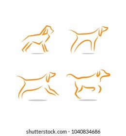 Dog logo and icon design concept template