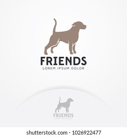 Dog logo. Dog silhouette for icons, symbols of animal care logo, pet food, veterinary. Veterinarian logo template