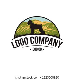 Dog Logo Template.Dog Silhouette Isolated On White Background. Vector object for Labels, Badges, Logos and other Design. Vintage dog logo.
