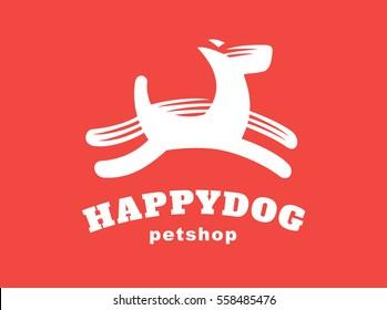Dog logo - vector illustration, emblem design on red background.
