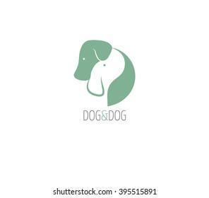 Dog logo,two dogs hugging