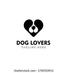 Dog love heart animal logo vector illustration. Creative Dog logo inspiration