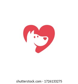 Dog love. Paw logo template, animal day care and pet shop. Dog nose in form of heart logo template. Vector illustration.