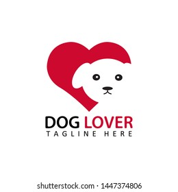 dog love, pets care logo template design vector in isolated white background