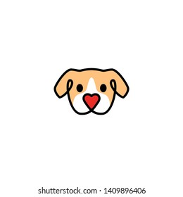 dog with love shape nose logo vector icon illustration