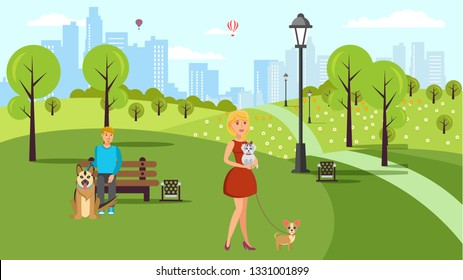 Dog Lovers Walk Vector Color Flat Illustration. Cartoon Character Pet Owners and Animals in Urban Park. Pet and Human Friendship. Man, Woman, Alsatian Dog, Purse Dogs. Horizontal Cityscape Background
