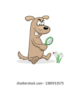 b6f880ab9f4d4 Dog with a magnifying glass watch on a snowdrop flower with a ladybug  vector illustration