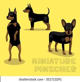 Dog Miniature Pinscher Cartoon Vector Illustration