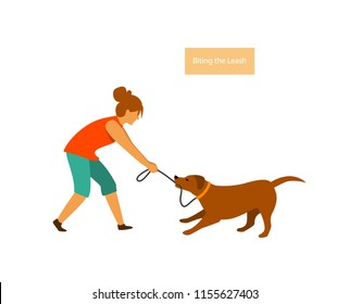 dog misbehaving tugging biting on a leash during walking vector illustration graphic scene