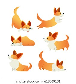 Dog - modern vector flat design cartoon animal characters set. Gift images of dog jumping, standing, lying, sleeping, smiling, hunting.