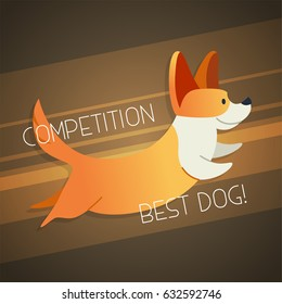 Dog - modern vector phrase flat illustration. Cartoon animal character. Gift image of dog jumping with words competition, best dog.