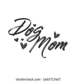 Dog mom lettering text with heart drawing, mascot love design.