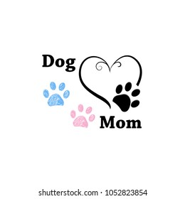 Dog Mom. Pink and blue paw print with hearts. Happy Mother's Day background