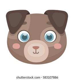 Dog muzzle icon in cartoon style isolated on white background. Animal muzzle symbol stock vector illustration.