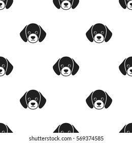 Dog muzzle vector icon in black style for web