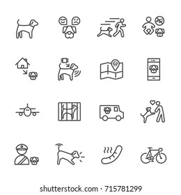 Dog is my best friend, Simple thin line icons set. Vector icon design