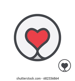 Dog nose in form of heart logo template.  Vector illustration.