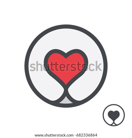 dog nose form heart logo template stock vector royalty free