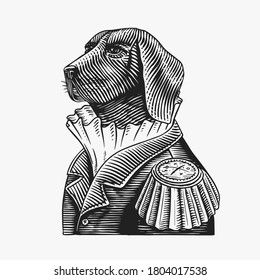 Dog officer or military man in the old uniform. Great Dane. Fashion animal character. Hand drawn vintage sketch. Vector engraved illustration for logo, label and tattoo or T-shirts.