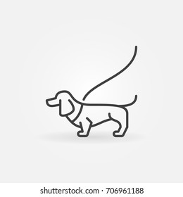 Dog on a leash concept icon or symbol in thin line style