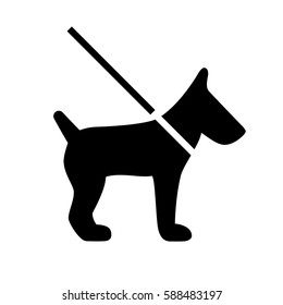 Dog on leash lead vector eps icon on white background