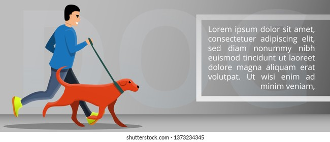 Dog outdoor running concept banner. Cartoon illustration of dog outdoor running vector concept banner for web design